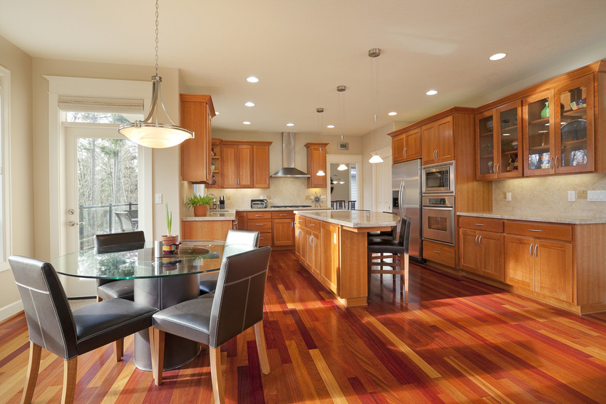 beautiful new home design with open concept gourmet kitchen