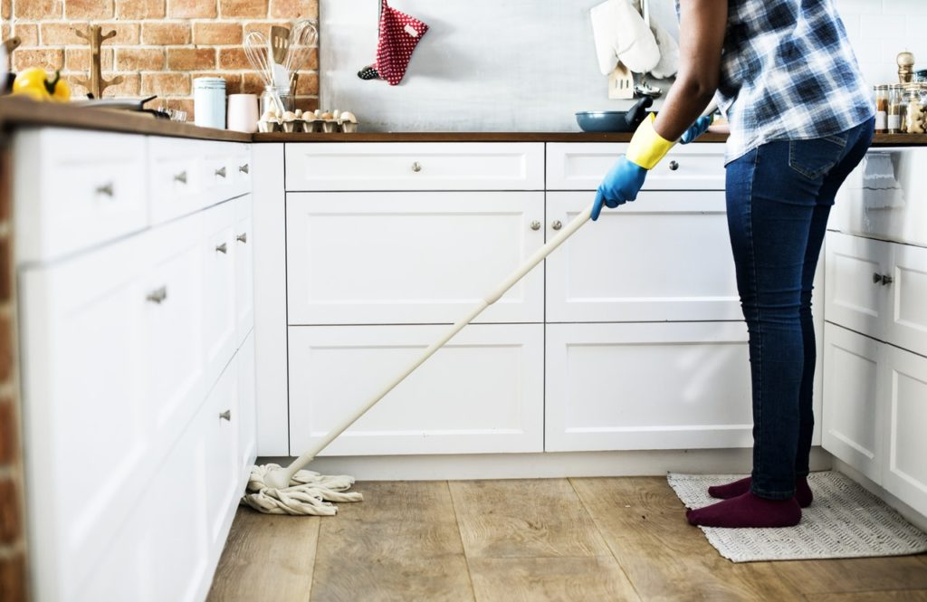mopping and cleaning when selling a home in winter