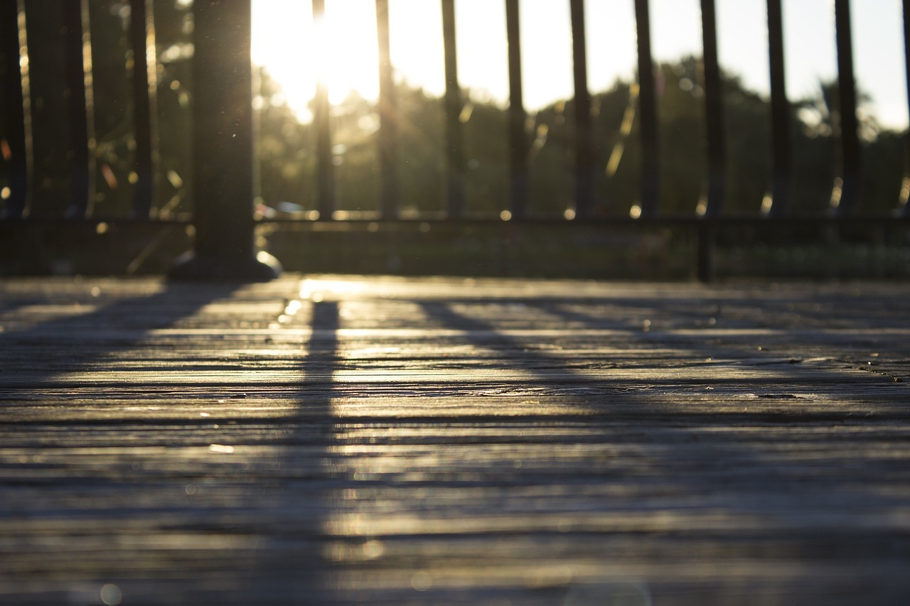 railings of a wooden deck
