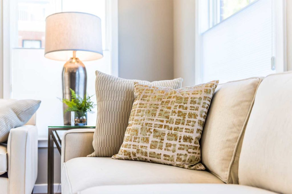table lamp beside a couch