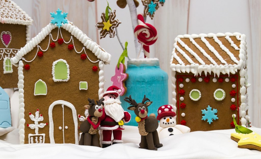 gingerbread village with reindeer