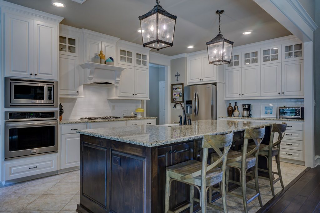 kitchen with custom lighting