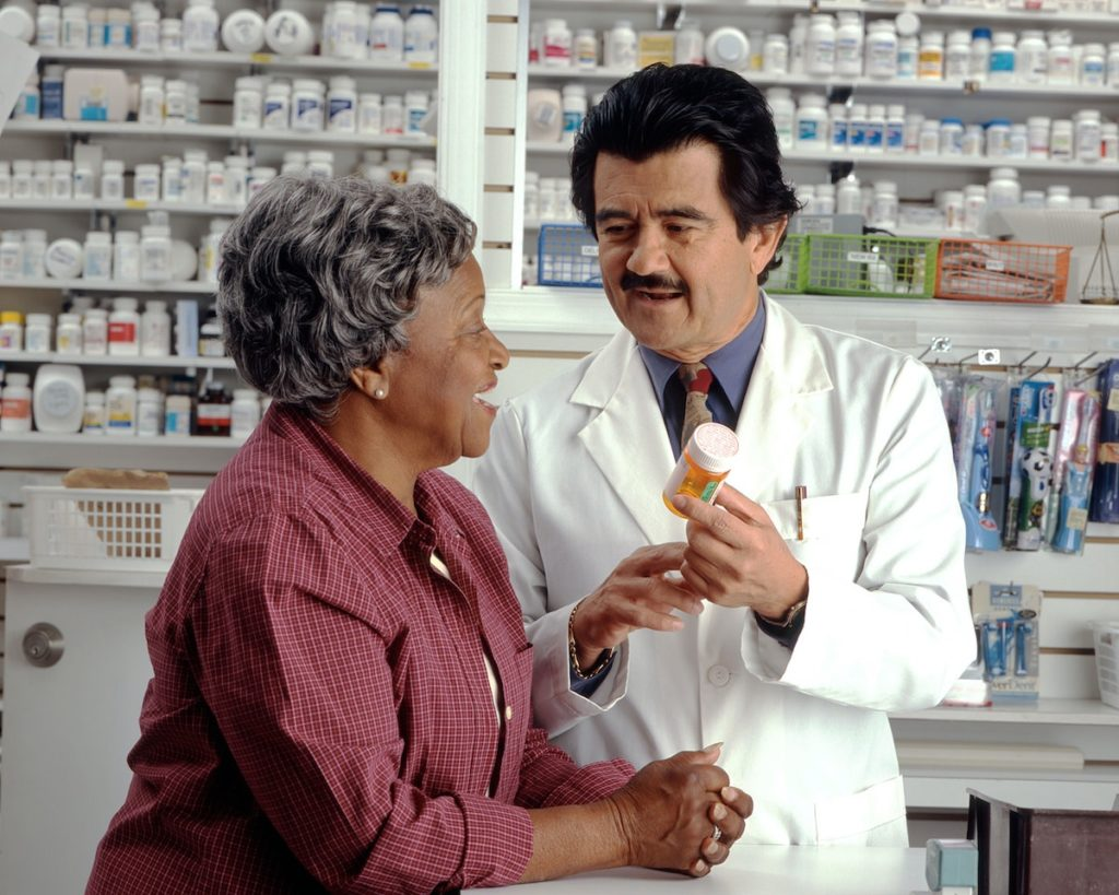 Woman and pharmacist